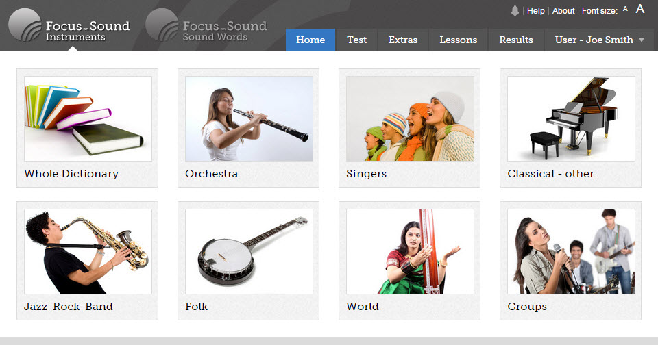 The main topic screen for the Instruments app.